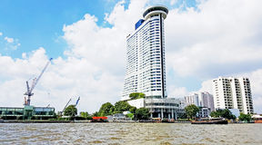The view of Buildings at Chao Phraya riverside in Bangkok, Thailand Royalty Free Stock Photos