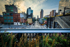 View of buildings in Chelsea from The High Line, in Manhattan, N Stock Images