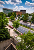 View of buildings and a divided street in Towson, MD Stock Images
