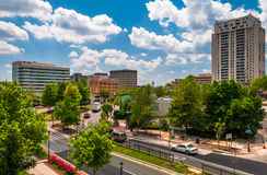 View of buildings and a divided street in Towson, MD stock photo