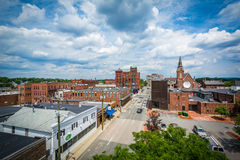 View of buildings in downtown Nashua, New Hampshire. Stock Image