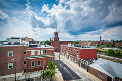 View of buildings in downtown Nashua, New Hampshire. Royalty Free Stock Image