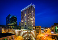 View of buildings in downtown at night, in Baltimore, Maryland. royalty free stock image