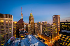 View of buildings in downtown at night, in Baltimore, Maryland. Stock Photography