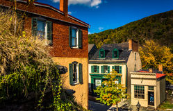 View of buildings in Harper's Ferry, West Virginia. Stock Photo