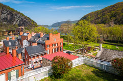 View of buildings in the historic Lower Town of Harpers Ferry, W Stock Images