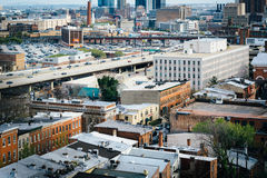 View of buildings in Mount Vernon and Jones Falls Expressway, Ba Stock Photography