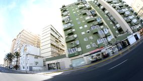 View buildings movement fisheye stock footage