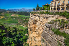 View of buildings over cliff in ronda, spain Royalty Free Stock Photos