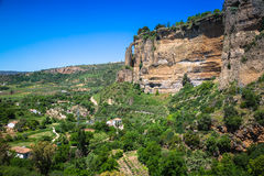 View of buildings over cliff in ronda, spain Royalty Free Stock Image