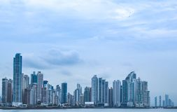 View of buildings in Panama over the ocean stock image