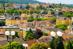 View of the buildings, roofs and lanterns of the beautiful picturesque town of Melk, Lower Austria, Wachau Valley royalty free stock photos