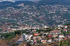Aerial view Sao Martinho on Portuguese island of Madeira. View on the buildings in Sao Martinho. Madeira island, Portugal royalty free stock photos