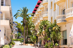 View of the buildings of the in Sitges, Barcelona, Catalunya, Spain. Copy space for text. Stock Photography