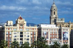 View of the buildings of the Spanish city of Malaga. Architecture. Buildings on a warm sunny day stock photo