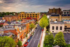 View of buildings and streets from a parking garage in Lancaster royalty free stock photography