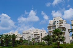 View of  buildings on the Tel Aviv street Royalty Free Stock Photography