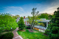 View of buildings and trees at Johns Hopkins University, in Balt Stock Photos