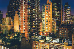 View of buildings in the Turtle Bay neighborhood at night, from Royalty Free Stock Photos