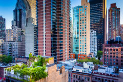 View of buildings in the Turtle Bay neighborhood, from a rooftop. On 51st Street in Midtown Manhattan, New York Stock Images