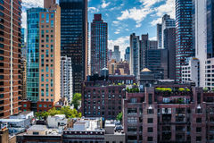 View of buildings in the Turtle Bay neighborhood, from a rooftop. On 51st Street in Midtown Manhattan, New York Royalty Free Stock Image
