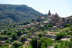 The view on buildings in Valldemossa village. Mallorca island, Spain Royalty Free Stock Image