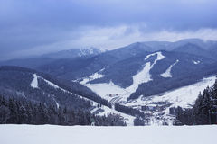 View on Bukovel. View fron the top of the mountain in Bukovel - ski resort in Ukraine. Near Ivano-Frankivsk royalty free stock photos