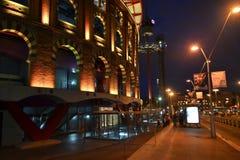 View of bullring Arenas de Barcelona at night. Stock Image