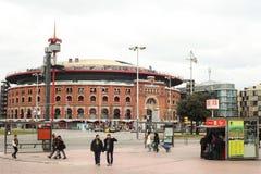 View of bullring Arenas de Barcelona Stock Photos