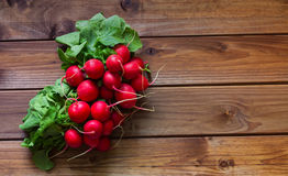 A bunch of radishes on a wooden table. View of the  bunch of radishes on a wooden table Royalty Free Stock Image
