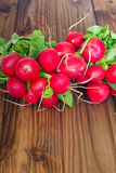 A bunch of radishes on a wooden table. View of the  bunch of radishes on a wooden table Royalty Free Stock Photo