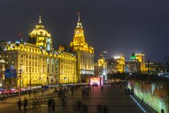 View of The Bund in Shanghai. Shanghai, China - Nov 3, 2017: View of The Bund, also called Waitan, in Shanghai. It is a waterfront area in central Shanghai with Royalty Free Stock Image