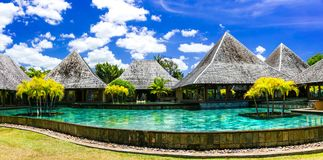 Luxury spa territory in Mauritius island with bungalows and swim Stock Image