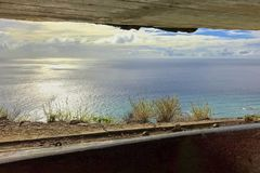 The view from the bunker at the top of Diamond Head Hike in Hawaii royalty free stock photos