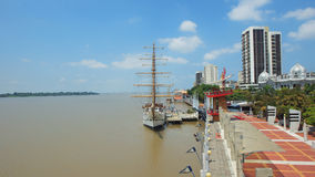 View of the Buque Escuela Guayas along the Malecon 2000 in the city of Guayaquil. Guayaquil, Guayas / Ecuador - September 4 2016: View of the Buque Escuela Stock Photography