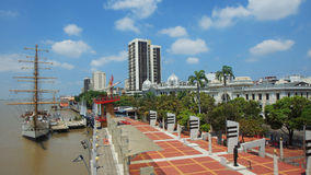 View of the Buque Escuela Guayas along the Malecon 2000 in the city of Guayaquil. Guayaquil, Guayas / Ecuador - September 4 2016: View of the Buque Escuela Royalty Free Stock Images