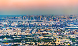 View of Bur Dubai, the Creek, Deira and Sharjah Stock Image