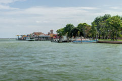 View of Burano island from Mazzorbo Island Royalty Free Stock Photos
