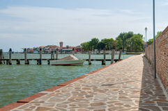 View of Burano island from Mazzorbo Island Stock Images