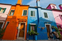View of Burano island, a small island inside Venice Venezia area, famous for lace making and its colorful houses., Italy, royalty free stock photos