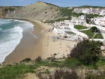 Burgau coastal village on the Algarve, Portugal. View of Burgau coastal village and beautiful sandy beach on the Algarve, Portugal royalty free stock photo