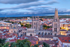 View on Burgos Cathedral from the hill Royalty Free Stock Photo