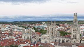 View on Burgos Cathedral from the hill stock video footage
