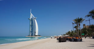 View of Burj Al Arab hotel from the Jumeirah beach Stock Photography