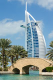 View of Burj Al Arab hotel from Medinat Juimerah, Dubai Royalty Free Stock Photo