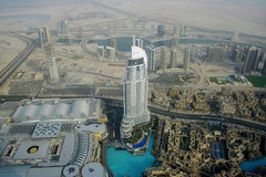 View from the Burj Khalifa down Dubai city Royalty Free Stock Photos