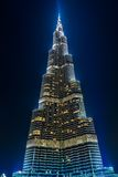 View on Burj Khalifa, Dubai, UAE, at night Stock Photos
