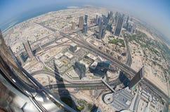View from Burj Khalifa. Fisheye view from observation deck of Burj Khalifa, Dubai Royalty Free Stock Images