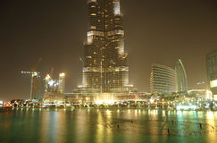The view on Burj Khalifa and man-made lake Stock Image