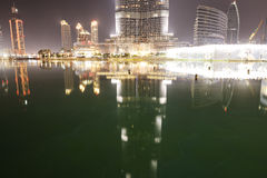 The view on Burj Khalifa and man-made lake Stock Images